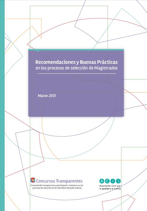 Recomendaciones y Buenas Prácticas en los Procesos de Selección de Magistrados.